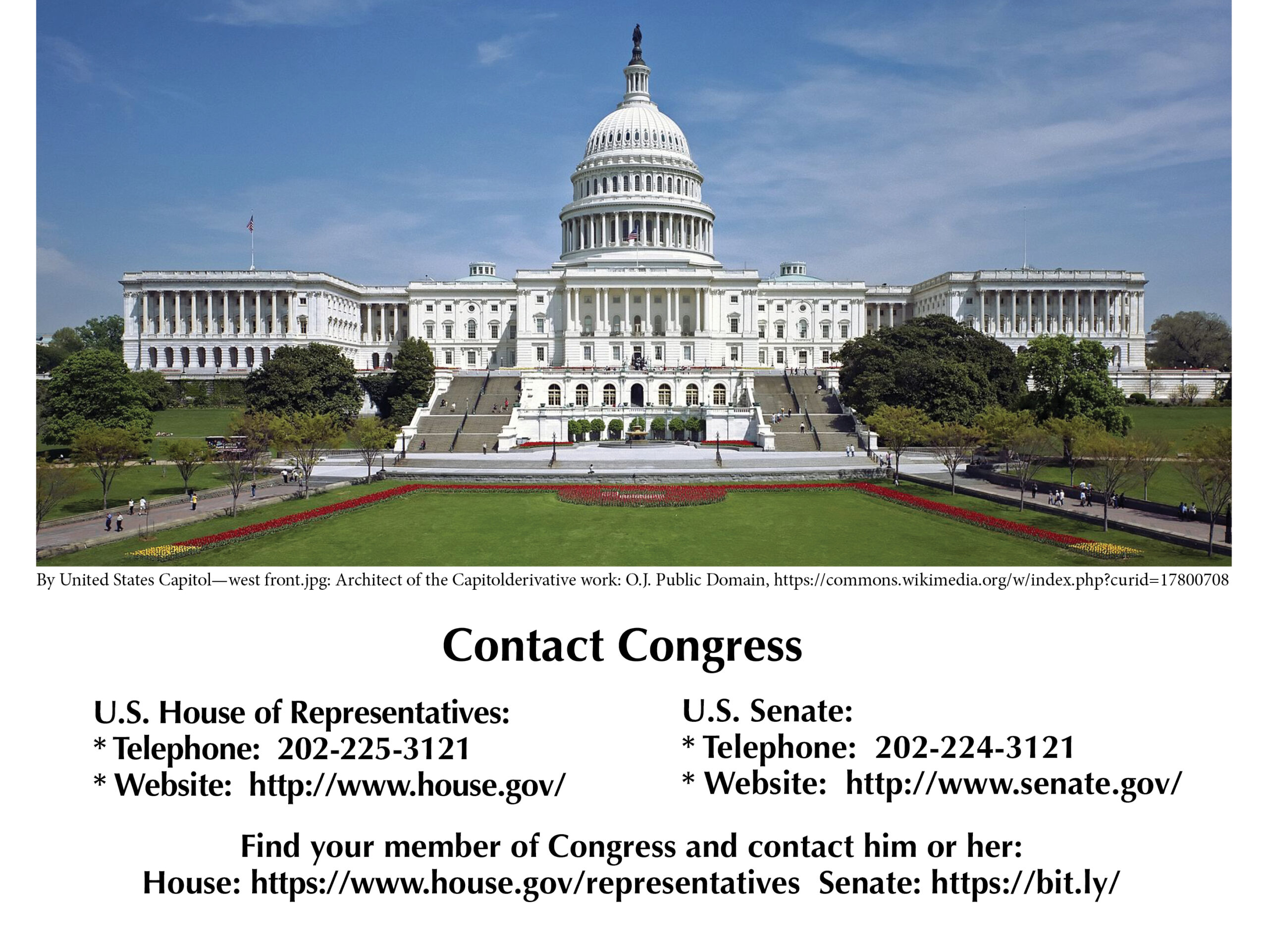 View of the U.S. Capitol from the west front paired with ways to contact U.S. Congress members