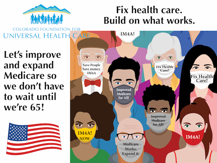 """A mixed crowd of humans wear masks with slogans that read """"Fix health care,"""" """"Save people. Save money. IM4A"""" and """"Improved Medicare for All!"""""""