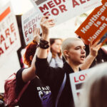 Activists rally for improved Medicare for All in 2017 in Los Angeles